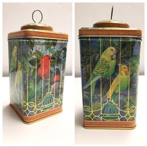 Bird Cage Motif Tin Canister Home Decor